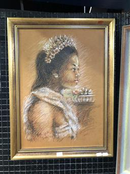 Sale 9176 - Lot 2098 - Artist Unknown Portrait of Balinese Girl in Ceremonial Dress c1970s pastel ,59 x 45cm signed and dated lower left -