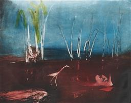 Sale 9195 - Lot 589 - SIDNEY NOLAN (1917 - 1992) Kelly on Horseback colour etching, ed. 34/60 44 x 56 cm signed lower right