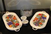 Sale 7989 - Lot 88 - Pair of Villeroy and Boch Luxemburg Oval Trays and Ramikins and 2 Swedish Glass Bowls