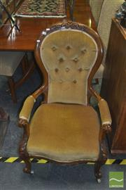 Sale 8331 - Lot 1017 - Buttonback Grandfather Chair