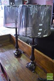 Sale 8532 - Lot 1187 - Pair of English Made Brown on Brass Table Lamps (5732)