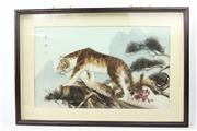 Sale 8586 - Lot 12 - Boxed Framed Tiger Feather Work ( 62cm x 42cm)