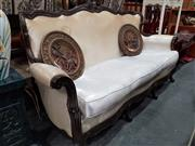 Sale 8717 - Lot 1036 - Carved Oriental Three Seater Sofa