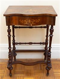 Sale 8735 - Lot 82 - A victorian walnut serpentine what not with single drawer on turned supports and stretchers to porcelain castors, H x 79cm, W x 51cm...