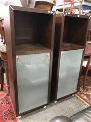 Sale 8839 - Lot 1299 - Pair of Modern Timber Slim Cabinets with Frosted Glass Door