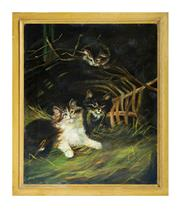 Sale 8888H - Lot 56 - European School -C 1920 - Cats at Play oil on canvas 36 x 31 cm