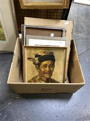 Sale 8891 - Lot 2095 - Group of (5) Assorted Balinese Paintings incl. Portrait of an Elder