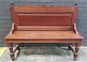 Sale 9014 - Lot 1064 - Late Victorian Walnut Government or Office Waiting Bench, with shaped top rail, panel back & timber seat, raised on turned legs (H99...