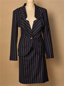 Sale 9093F - Lot 61 - A Vivienne Westwood red label two piece navy and white pinstriped suit size 44 (skirt missing button)