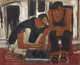 Sale 9118A - Lot 5050 - Van Tho - Old Worker, Young Worker,1984 115.5 x 93.5 cm
