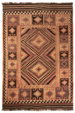Sale 9123J - Lot 184 - A vintage Kilim rug, the double diamond central panel and repeating diamond border over a russet coloured ground, 300 x 200cm