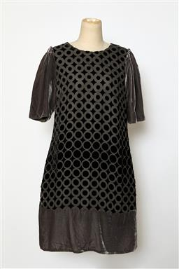 Sale 9095F - Lot 99 - A See by Chloe black and grey silk & velvet patterned dress, size 10.