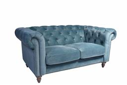 Sale 9180F - Lot 1 - A 2 seater Chesterfield in velvet azure with brass stud detailing. (W 163cm x D85cm x H 77cm