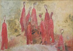 Sale 9257A - Lot 5012 - HANA JUSKOVIC (1923 - 2002) Ceremony, c1960 oil on board 45 x 61 cm (frame: 56 x 72 cm) signed lower left and right