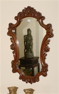 Sale 8171A - Lot 27 - A Rococo style carved timber mirror, H 70cm