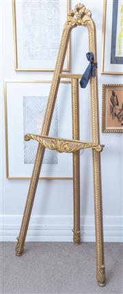 Sale 8800 - Lot 168 - A large carved and gilt timber easel, H 166cm, Cintra Galleries, Brisbane