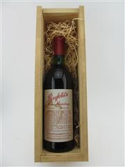 Sale 8385 - Lot 657 - 1x 1980 Penfolds Bin 95 Grange Shiraz, South Australia - base of neck, stained label, in timber presentation box