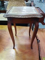 Sale 8611 - Lot 1028 - Small Glass Insert Leather Inlaid Top Side Table