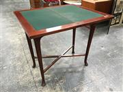 Sale 8666 - Lot 1002 - Mid 20th Century Maple Fold Over Card Table, with green baize interior & club legs