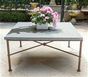 Sale 8838H - Lot 3 - A textured concrete table on an x-frame iron base. Height 49 x 102 squared