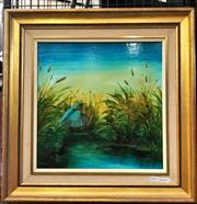 Sale 9072 - Lot 2001 - Sue Nagel Kingfish After Successful Dive oil on board, 51 x 51cm (frame), signed lower right -