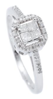Sale 9080J - Lot 135 - A 10CT WHITE GOLD DIAMOND CLUSTER RING; octagonal top centring 4 princess cut diamonds to surround and upswept shoulders set with 45...