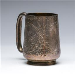 Sale 9093 - Lot 83 - Victorian Hallmarked Sterling Silver Mug, London, c.1882 by GMJ (wt. 130.5g, H9cm)