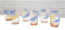 Sale 9117 - Lot 1085 - Good suite of 6 mid century modern American glass tumblers (h:11cm)