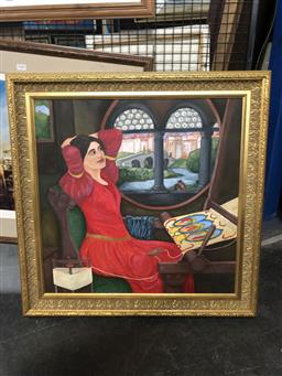 Sale 9139 - Lot 2089 - ARTIST UNKNOWN Medieval Woman Weaving, frame: 75 x 75 cm, unsigned -