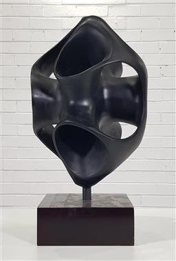 Sale 9188 - Lot 1064 - Artist unknown, A black abstract sculpture on a painted timber base (h:61 x w:31cm)