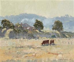 Sale 9216A - Lot 5061 - ROBERT WILSON (1942 - ) Blue Morning, Cambewarra, 1974 oil on board 36.5 x 44 cm (frame: 54 x 61 x 4 cm) signed and dated lower righ...