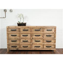 Sale 9245T - Lot 82 - An industrial style timber four drawer and four door sideboard. Dimensions: H 96 x W 180 x D45cm