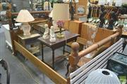 Sale 8272 - Lot 1052 - Oak Double Bed Frame with Barley Twist Supports