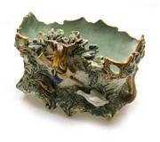 Sale 8272A - Lot 66 - An antique French Majolica jardinière decorated with hunting scenes.  Size:  36 x 21 x 23cm