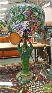 Sale 8404 - Lot 1016 - Leadlight Shade Peacock Figural Base Table Lamp