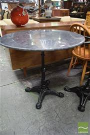 Sale 8499 - Lot 1655 - Black Waterproofed Marble Top Table on Cast Iron Base (80cm)