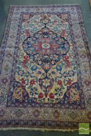 Sale 8520 - Lot 1037 - Semi-Antique Persian Wool Carpet with blue medallion (202 x 128cm)