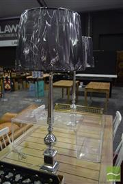 Sale 8532 - Lot 1369 - Pair of Tall Chrome Table Lamps on Square Base (5752)