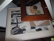 Sale 8563T - Lot 2122 - 2 Pictures; Abstract Ink & Bradman Caricature