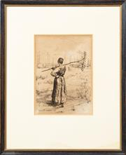 Sale 8653A - Lot 11 - Bastian LePage - Woman with Rake 27.5 x 19cm