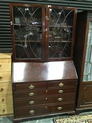 Sale 8740 - Lot 1593 - Late Georgian Mahogany Bureau Bookcase, with astragal doors, above a fitted inlaid interior & five drawers (key in office)