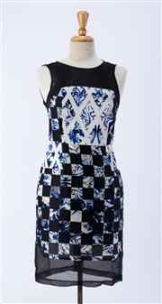 Sale 8891F - Lot 37 - A Tibi, New York printed silk sleeveless dress with contrasting sheer black trim, US 4