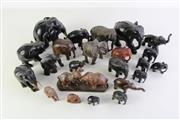 Sale 8944T - Lot 641 - Collection of timber carved elephant figures (height of tallest 15.5cm)