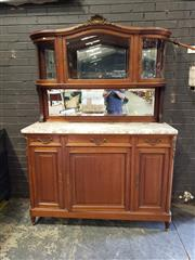 Sale 8976 - Lot 1095 - Early 20th Century French Fruitwood Sideboard/ Buffet, with gilt brass mounts, the arched top section with three bowed glass panel d...