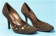 Sale 9090F - Lot 116 - A PAIR OF VINCENZA SQUARE TOE HEELS; in brown suede with applied flowerers and embroidery, size 35
