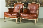 Sale 9087H - Lot 58 - A pair of vintage French bergère leather upholstered chairs. Some small tears / cracking to back commensurate with age 91T x 75 W x...