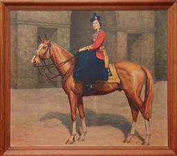 Sale 9103M - Lot 406 - A framed print of Queen Elizabeth riding a horse, Frame size 68cm x 78cm