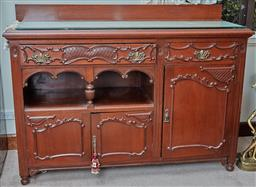 Sale 9103M - Lot 538 - A timber sideboard/entertainment unit with three doors and two drawers, Height 111cm x Width 153cm x Depth 54cm