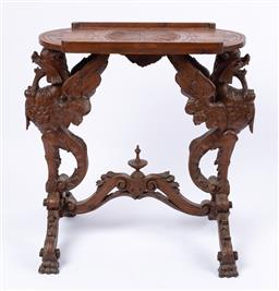 Sale 9135H - Lot 127 - An antique Italian hand carved wine table. 80cm Height, 36cm Depth, 80cm Width