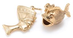 Sale 9156J - Lot 333 - TWO 9CT GOLD CHARMS; a Nefertiti, length 32mm and a fish 19 x 11mm, wt. 3.52g.